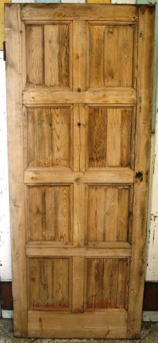 DB0267 A Stripped, 8 Panel, Edwardian Pine Door