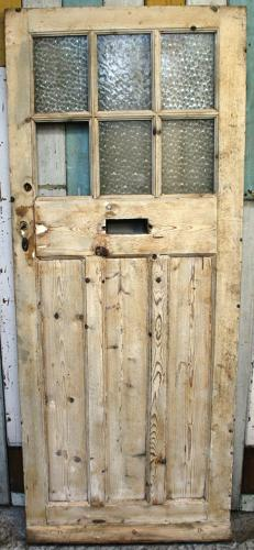 DE0158 An Edwardian Pine Front Door w. 6 Glazed Panels over 3 Panels