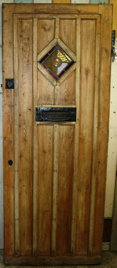 DE0636 A Pine Cottage Door with Diamond Shaped, Stained Glass Window