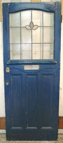 DE0759 An Edwardian Pine Front Door with a Leaded Glass Window