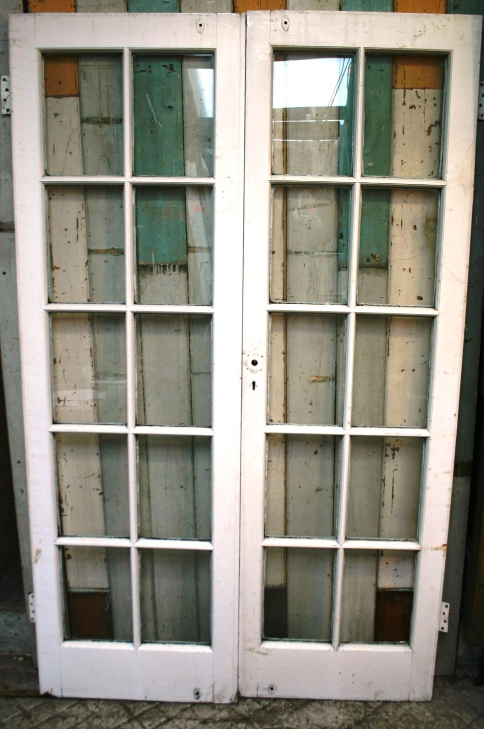 DP0241 A Pair of Painted Edwardian Pine French Doors