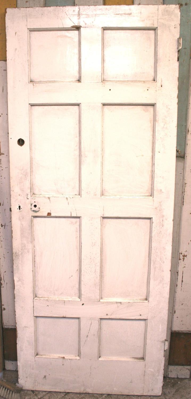 DI0448 A Painted, 8 Panel Edwardian Pine Internal Door c.1925