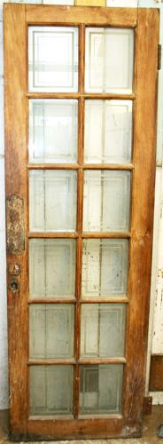 DI0517 Lovely Edwardian Mahogany Door with Etched, Glazed Panels