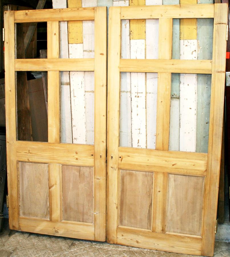 DP0251 A Fine Pair of Victorian Pine Doors for Glazing