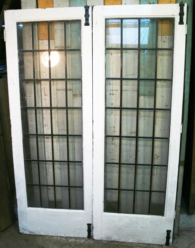 DP0252 A Pair of Matching Edwardian Pine Doors with Leaded Panels