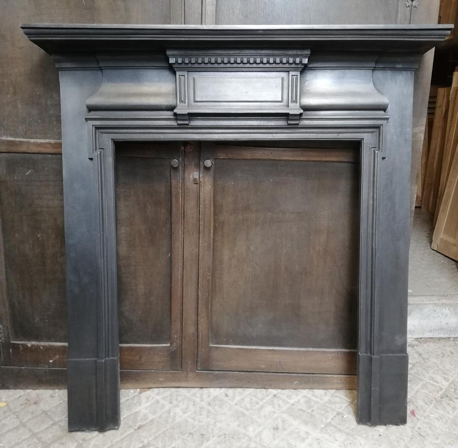 FS0045 LARGE VICTORIAN CAST IRON FIRE SURROUND FOR WOOD BURNER