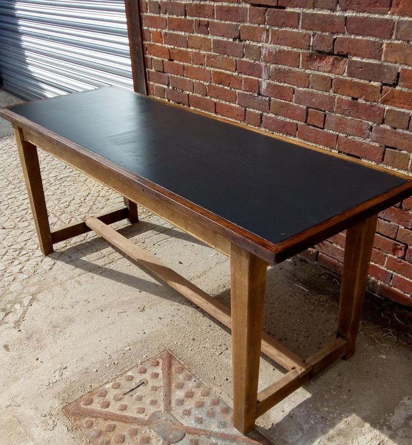 M1190 A RECLAIMED ELEGANT STYLE OAK INTERNAL TABLE WITH SLATE TOP