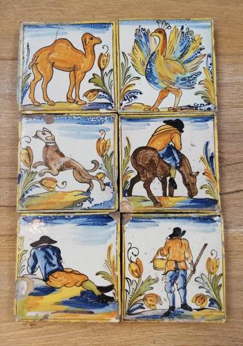 M1182 A SET OF 6 MEDITERRANEAN HAND PAINTED TILES