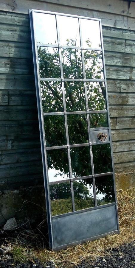 M1189 FANTASTIC INDUSTRIAL RECLAIMED CRITTALL DOOR MIRROR