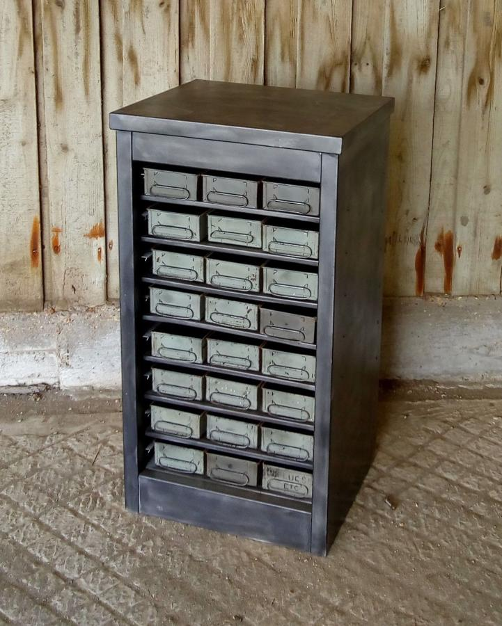 M1187 RECLAIMED STRIPPED AND LACQUERED INDUSTRIAL DRAWER UNIT