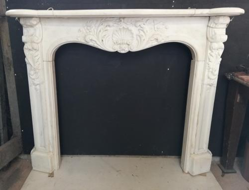 FS0043 BEAUTIFUL ANTIQUE FRENCH WHITE MARBLE FIRE SURROUND