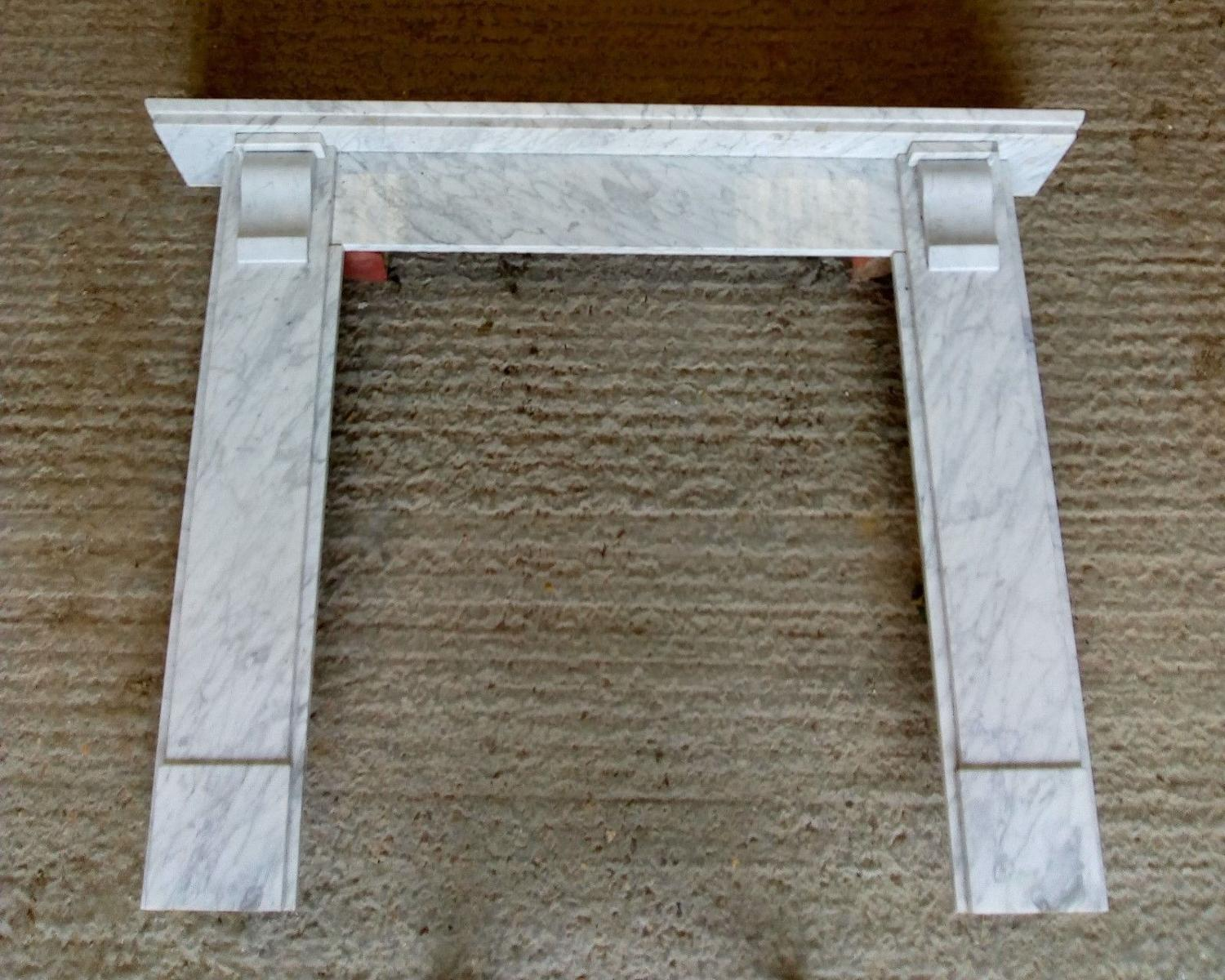 FS0044 RECLAIMED CARRARA MARBLE FIRE SURROUND FOR WOOD BURNER