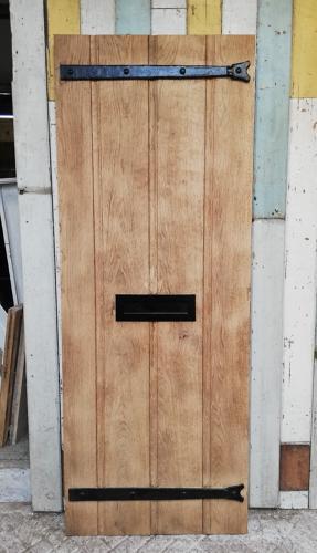 DE0770 RECLAIMED RUSTIC BARE OAK FRONT DOOR COTTAGE STYLE