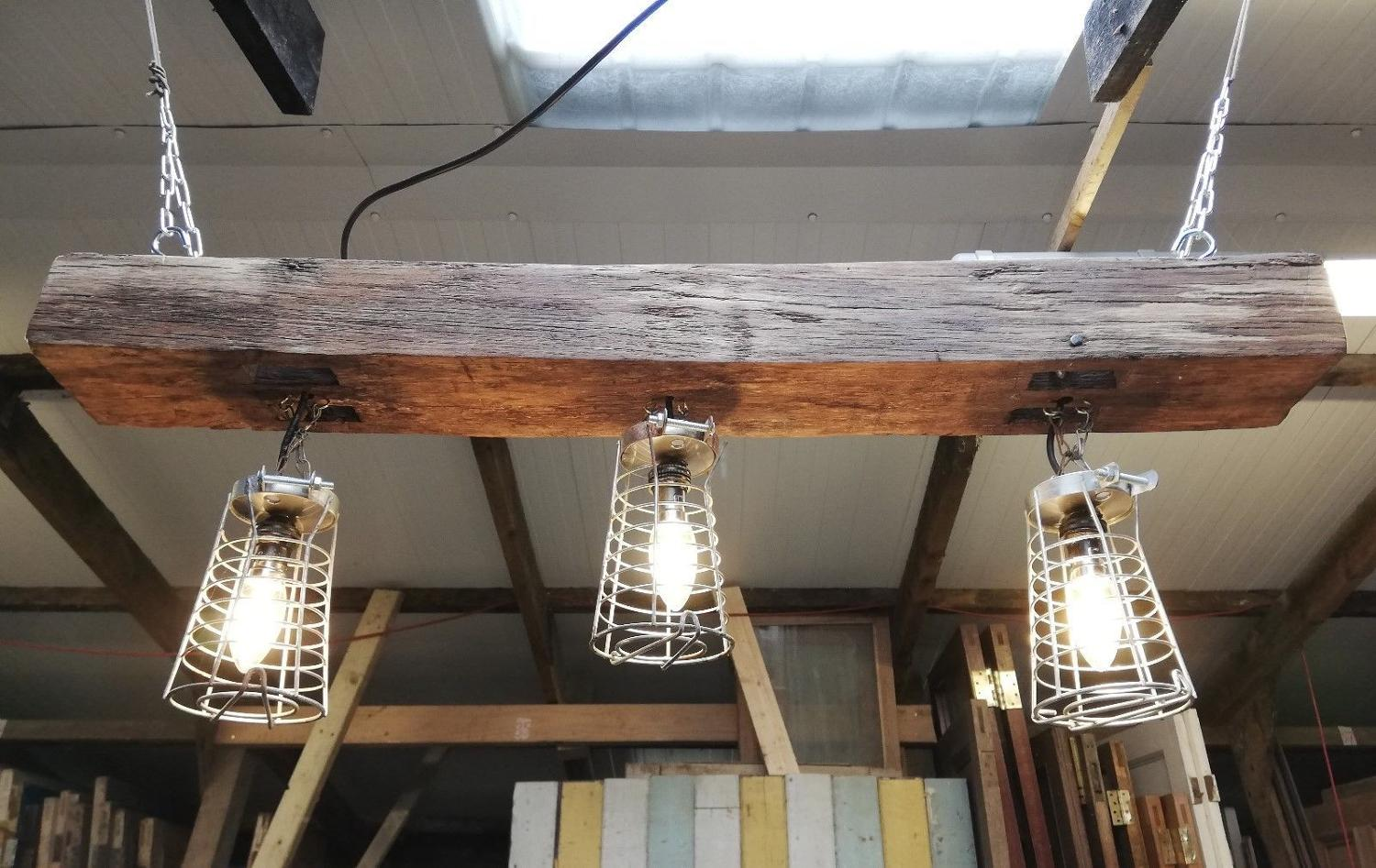 M1183 AN INDUSTRIAL HANGING CAGE AND OAK BEAM CEILING LIGHT