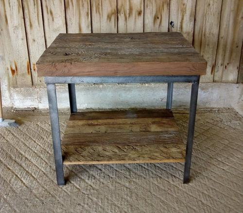 M1192 RECLAIMED RUSTIC OAK KITCHEN ISLAND WITH METAL BASE