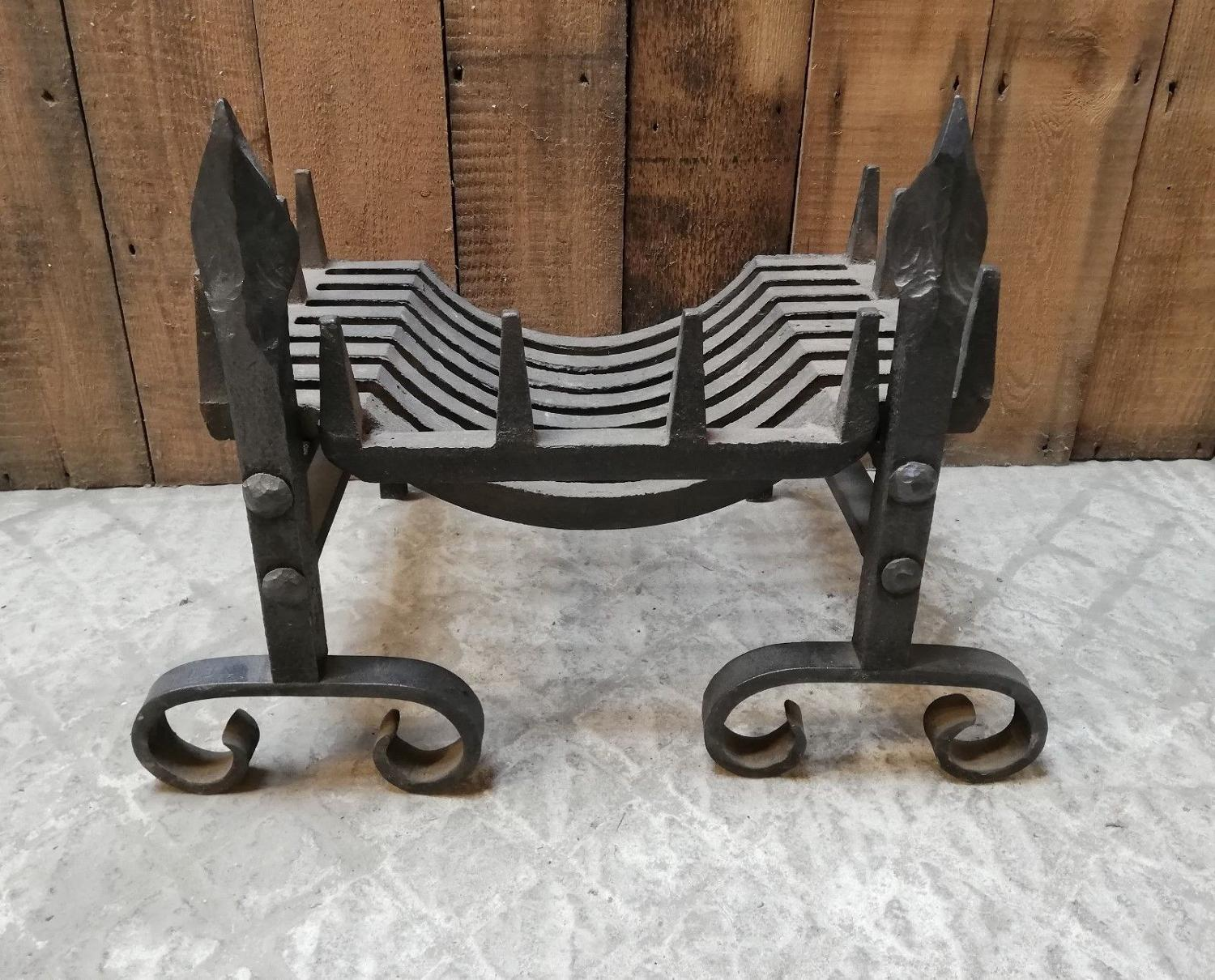 FB0020 A RECLAIMED CAST IRON SWANS NEST FIRE BASKET AND FIRE DOGS