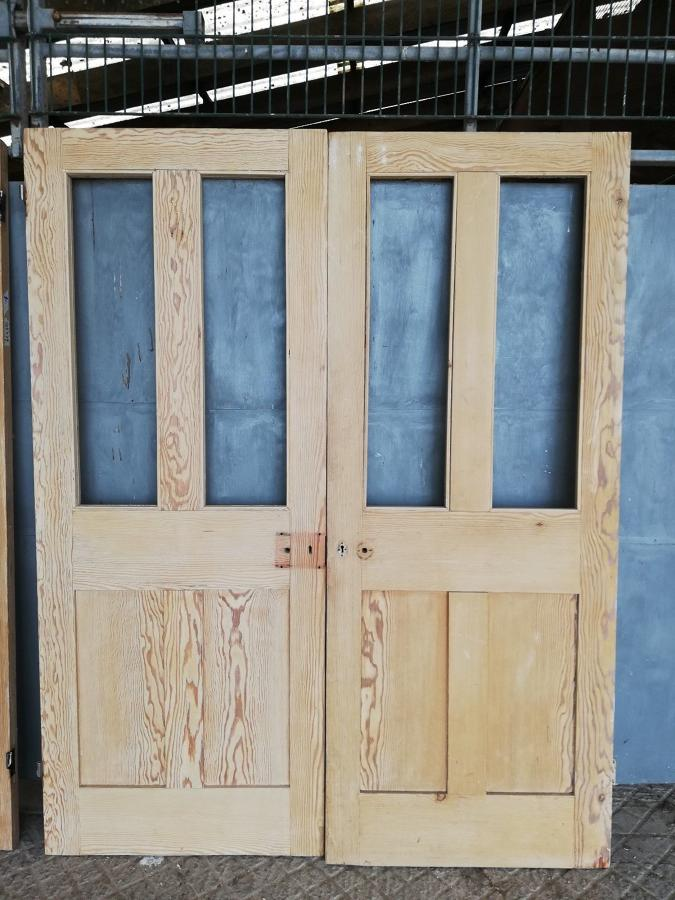 DP0247 PAIR OF VICTORIAN PINE INTERNAL FOUR PANEL DOORS
