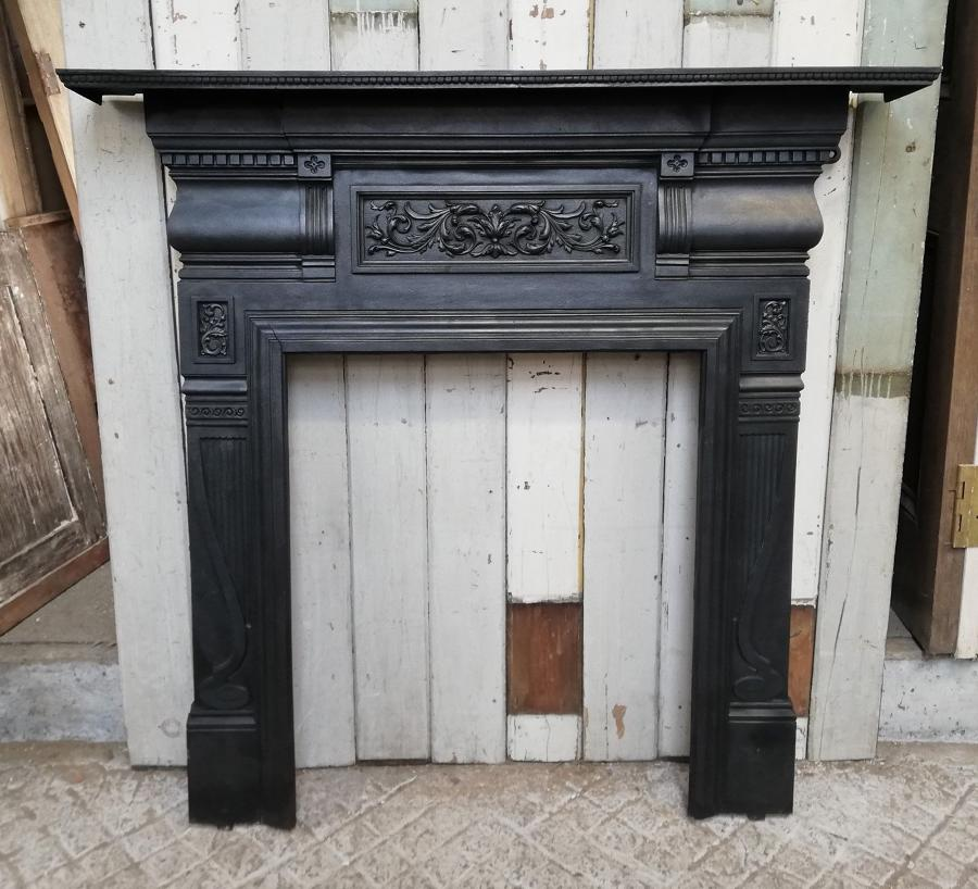 FS0047 A VICTORIAN CAST IRON FIRE SURROUND FOR WOOD BURNER OR BASKET