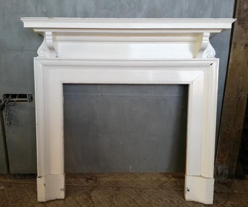 FS0048 LARGE EDWARDIAN PAINTED PINE FIRE SURROUND FOR WOOD BURNER