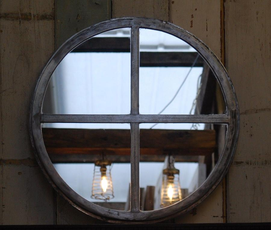 M1208 ANTIQUE UPCYCLED CRITTALL CIRCULAR INDUSTRIAL WINDOW MIRROR