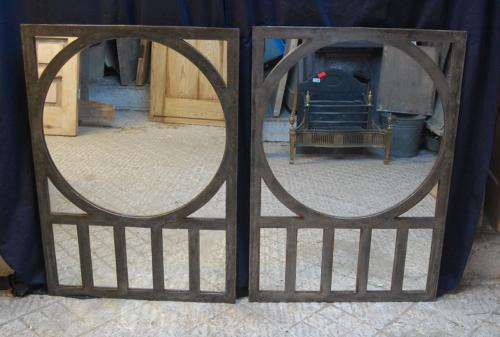 M1210 A PAIR OF FANTASTIC RECLAIMED ART DECO WINDOW FRAME MIRRORS