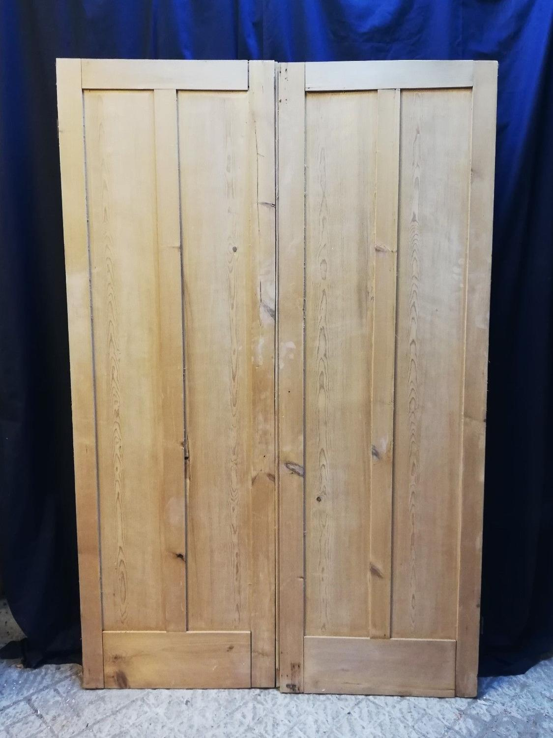 CS0023 A PAIR OF STRIPPED PINE VICTORIAN CUPBOARD DOORS
