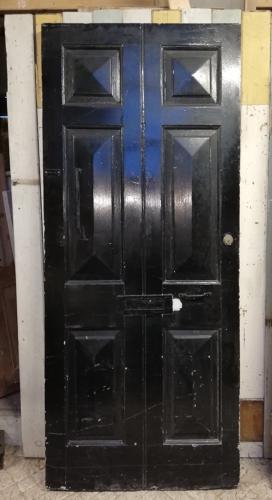 DE0789 AN ELEGANT GEORGIAN 6 PANEL PINE FRONT DOOR