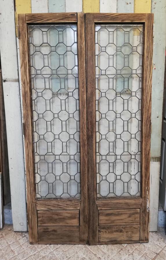 DP0259 PAIR OF RECLAIMED OAK ASTRAGAL GLAZED INTERNAL DOORS