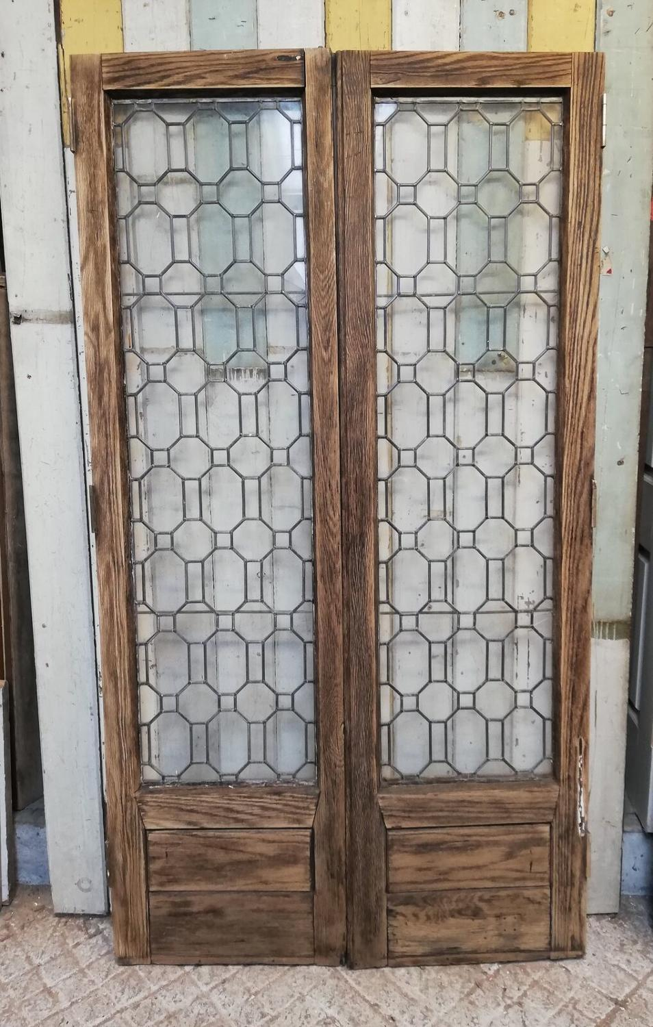 DP0259 PAIR OF RECLAIMED OAK ASTRAGAL GLAZED INTERNAL DOORS