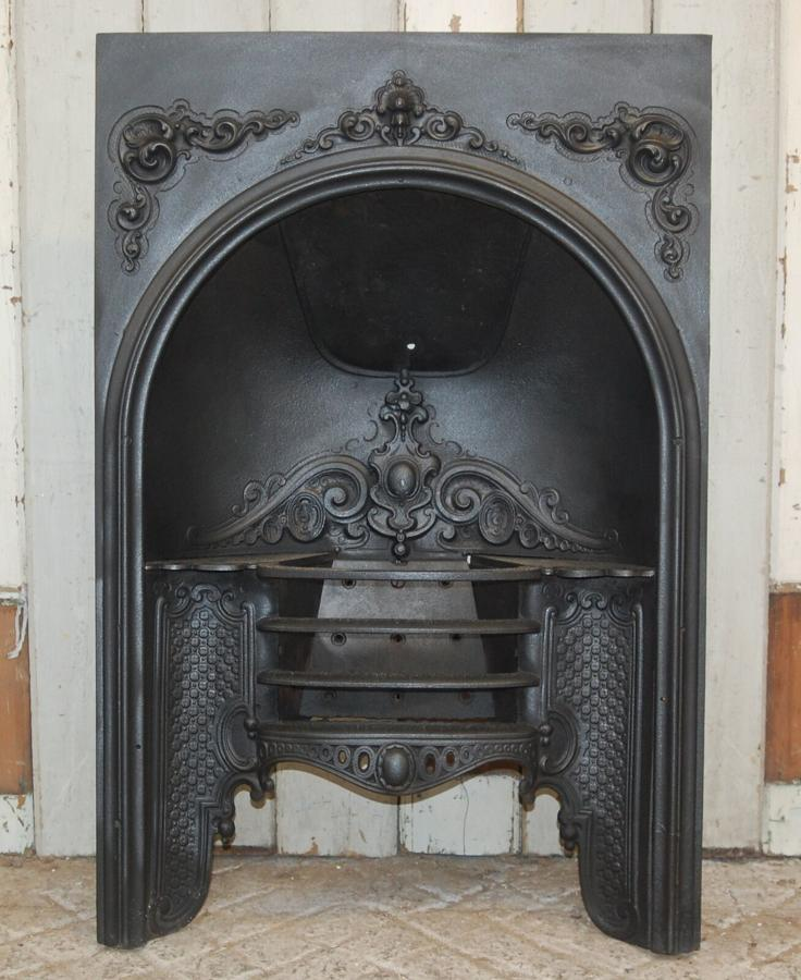FB0032 A DECORATIVE ANTIQUE EARLY VICTORIAN CAST IRON HOB GRATE FIRE