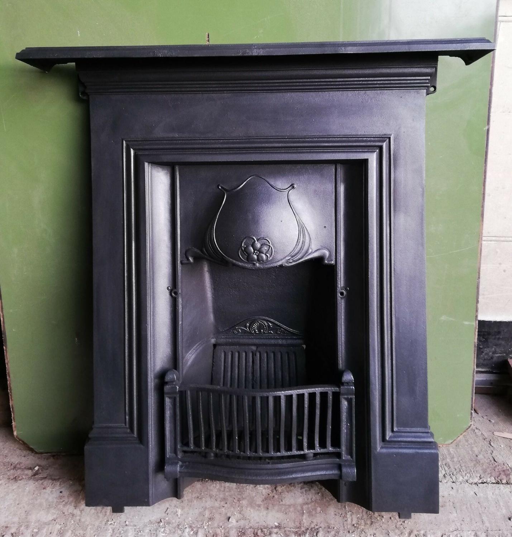 FC0043 AN ART NOUVEAU CAST IRON COMBINATION BEDROOM FIRE