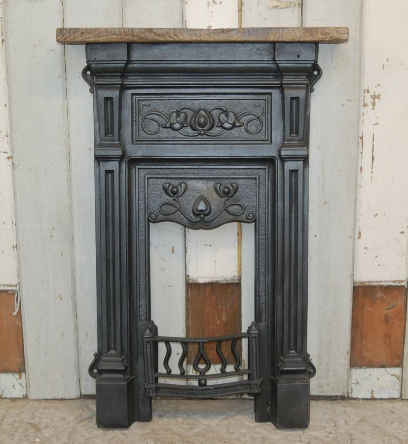 FI0026 PETITE ART NOUVEAU CAST IRON FIRE FRONT RECLAIMED OAK MANTEL