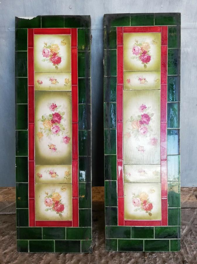 FX0005 A PAIR OF ATTRACTIVE EDWARDIAN FIRE TILE PANELS FLOWER DESIGN