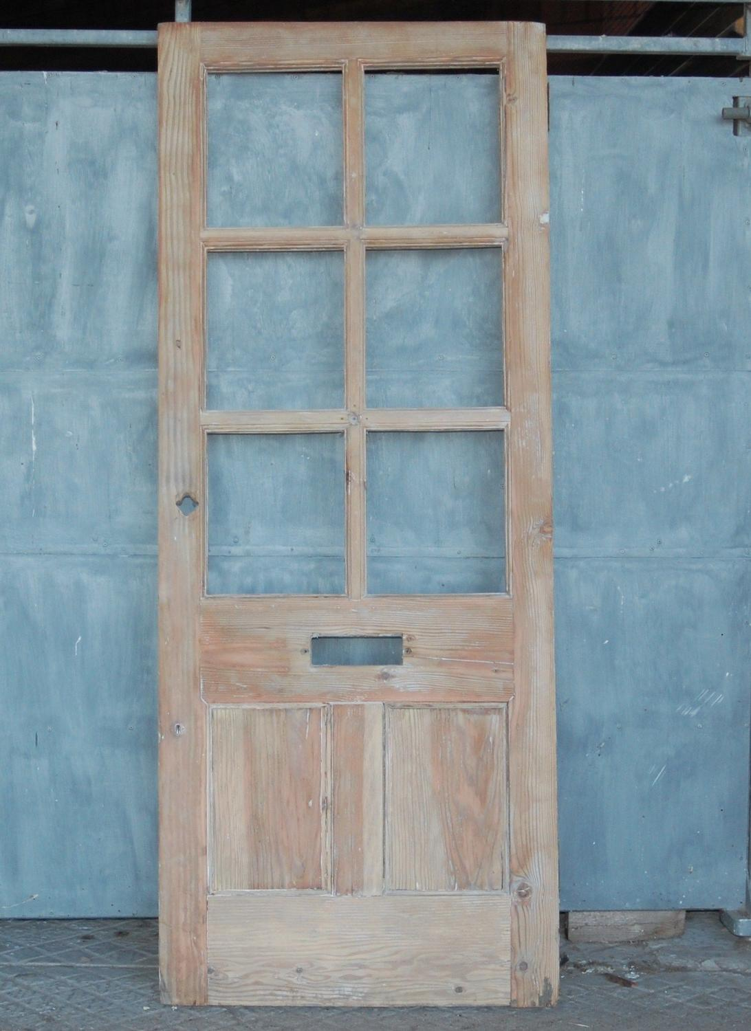 DE0791 A RECLAIMED PITCH PINE 6 PANEL FRONT DOOR READY FOR GLAZING