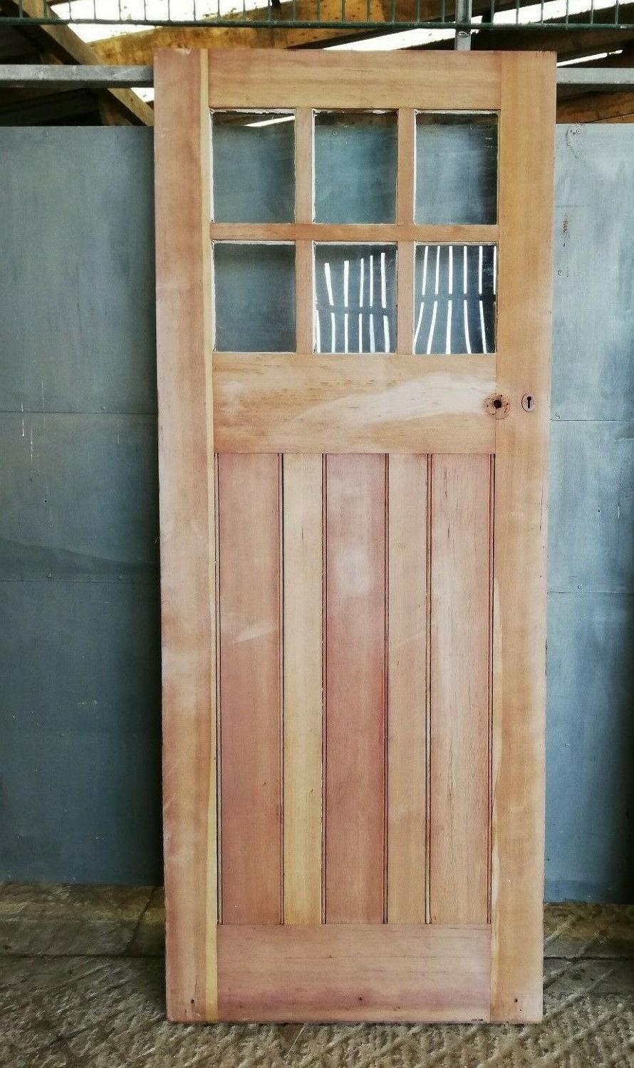 DB0653 A PINE ARTS AND CRAFTS DOOR WITH GLAZING C.1910