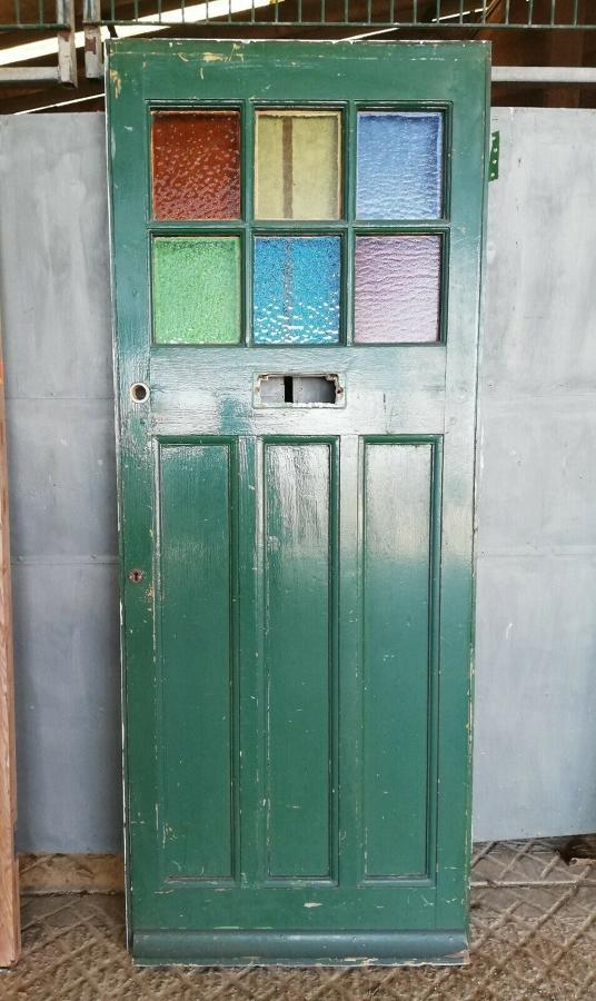 DE0792 RECLAIMED PINE FRONT DOOR WITH STAINED GLASS PANELS