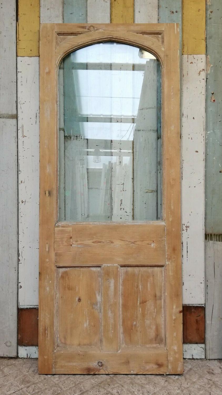 DB0655 FANTASTIC RECLAIMED GOTHIC PINE GLAZED DOOR INTERNAL / EXTERNAL