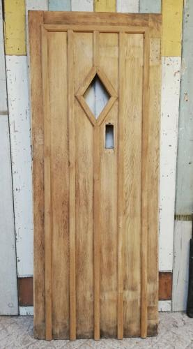 DE0794 RECLAIMED COTTAGE STYLE OAK FRONT DOOR WITH GLAZING PANEL