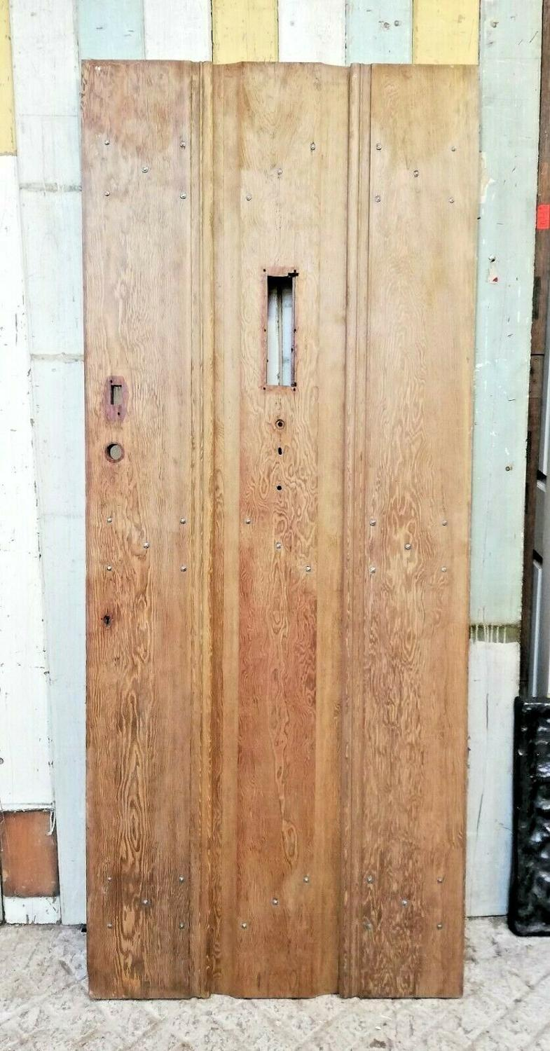 DE0798 ARTS AND CRAFTS STYLE RECLAIMED PITCH PINE PLANK FRONT DOOR