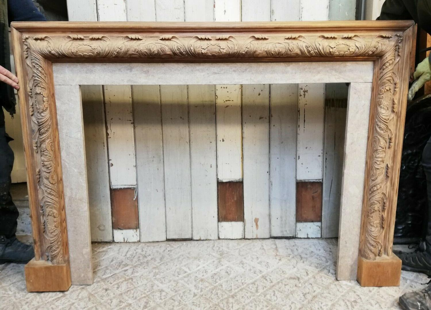 FS0057 BEAUTIFUL ANTIQUE CARVED ACANTHUS LEAF PINE FIRE SURROUND