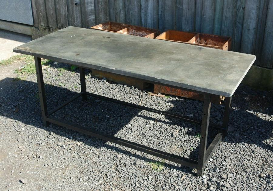 M1266 RECLAIMED INDUSTRIAL STYLE EXTERNAL TABLE WITH SLATE / STONE TOP
