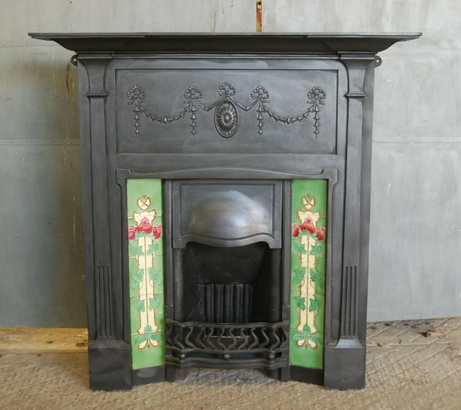 FC0047 ATTRACTIVE LARGE ART NOUVEAU TILED CAST IRON COMBINATION FIRE