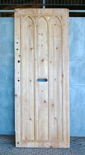 DI0678 FANTASTIC RECLAIMED GOTHIC STYLE STRIPPED PINE INTERNAL DOOR