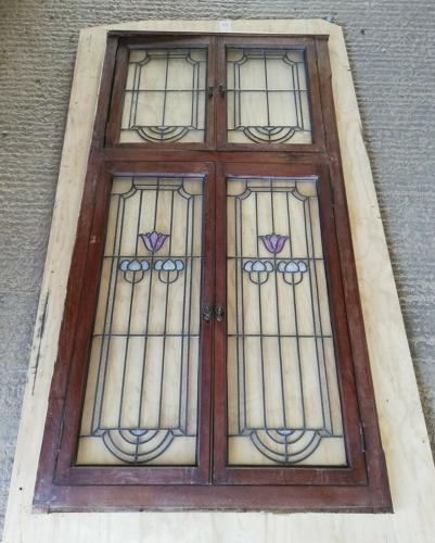 CS0028 ART NOUVEAU CUPBOARD DOORS AND FRAME WITH VASELINE GLASS