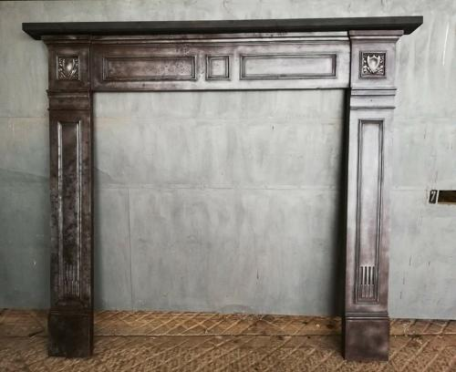 FS0059 VERY LARGE VICTORIAN CAST IRON FIRE SURROUND WITH PINE MANTEL