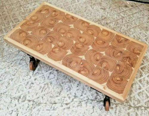 M1271 COFFEE TABLE WITH WHEELED LEGS MADE USING WOOD END GRAIN BLOCKS