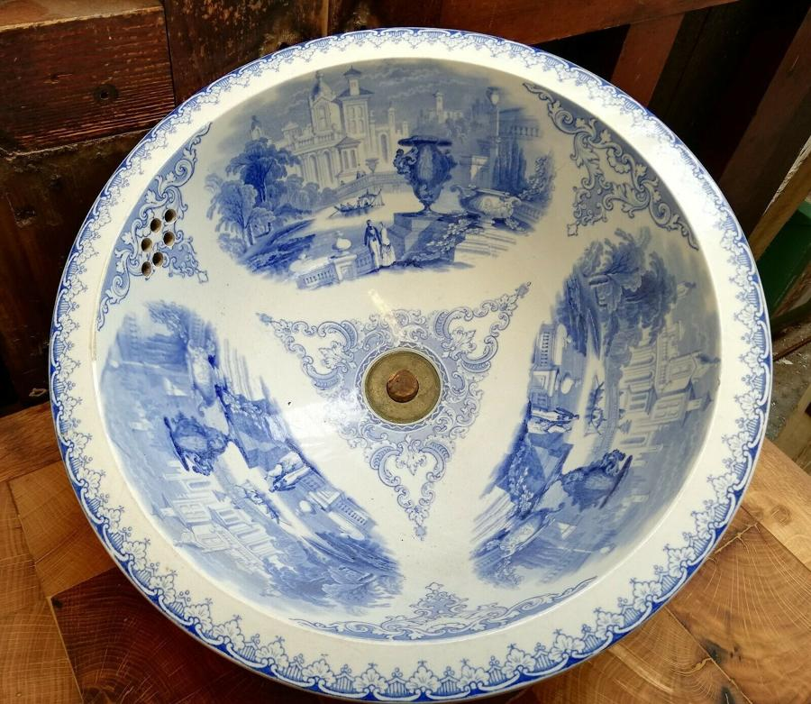 M1270 LATE GEORGIAN TRANSFER PRINT WASH BASIN FOR WASH STAND / SINK