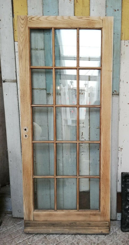 DE0804 A HEAVY RECLAIMED EXTERIOR OAK DOUBLE GLAZED DOOR