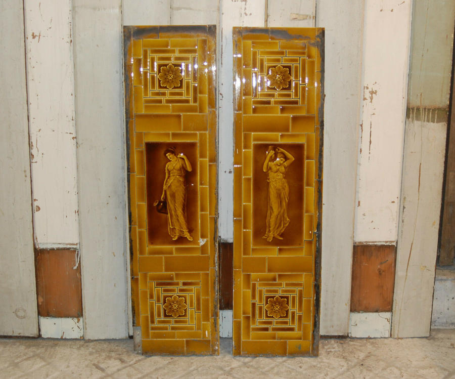FX0007 PAIR OF ANTIQUE FIREPLACE TILE PANELS SHERWIN AND COTTON
