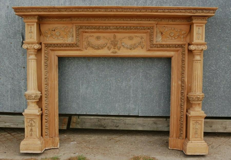 FS0061 FANTASTIC VICTORIAN PINE AND GESSO HAND CARVED FIRE SURROUND